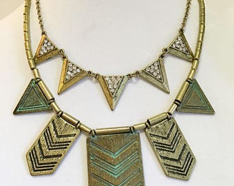 Set of Two Layered Bronze Necklace/ Tribal Bronze Necklace.