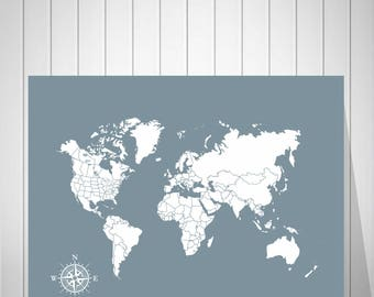 World Map Canvas Etsy - Us word map illionis