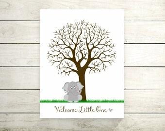 Baby Shower Gray Elephant   Thumbprint Tree Guest Book   Baby Room Nursery Art   Baby Shower Gift   Baby Birthday   Fingerprint Tree - 67477