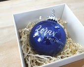 Personalized BABY'S FIRST CHRISTMAS Ornament gift with calligraphy - One (Blue)