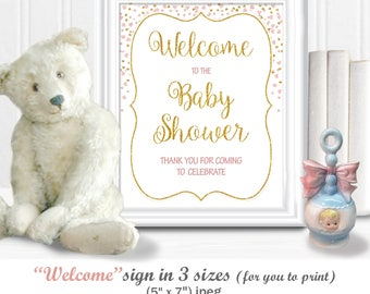 WELCOME to the BABY SHOWER Sign (3 sizes included) with gold digital glitter and soft blush hearts, diy Printable,  38BA