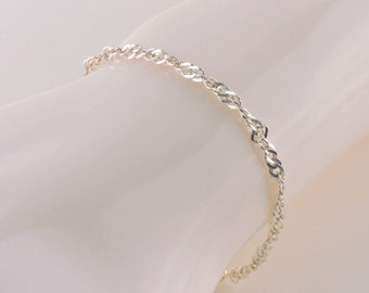 Sterling Silver Twisted Cuban Link Bracelet 7""