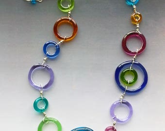 lifesaver necklace in colorful rings handmade glass lampwork beads with sterling silver components
