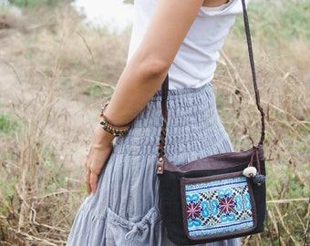 Unique Crossbody Purse for Women with Hmong Embroidered, Boho Purse with Pom Pom, Fair Trade Sling Bag in Black - BG522BLAV