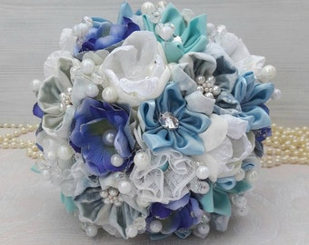 White and blue bridal denim bouquet. A bouquet of the bride made of fabrics.
