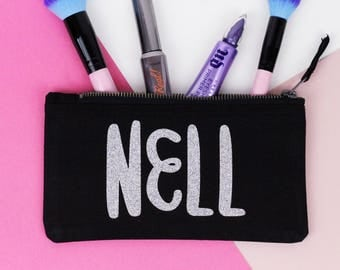 Personalised Makeup Bag - Small Customised Zipper Pouch - Block Lettering - Pencil Case - Black with Holographic Silver Glitter Name