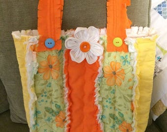 Melon and Yellow Rag Quilt Purse