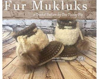 Fur Mukluks - Baby Booties - Instant Download PDF CROCHET PATTERN