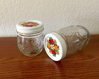 "Kerr Country Kitchen Jelly Jars with White Bands & Decorated Lids / Fruit Embossed Canning Jars  / Kerr ""AHK"" Jelly Jars  8 oz, 12 oz"