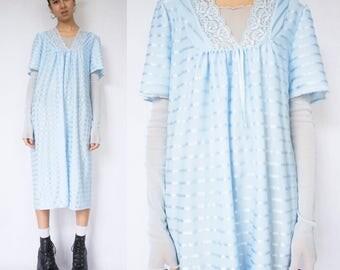 BLUE SHIFT DRESS -striped, pastel, cute, kawaii, harajuku, 90s, long, short sleeve, lace, nightie, aesthetic, grunge, cyber, club kid-