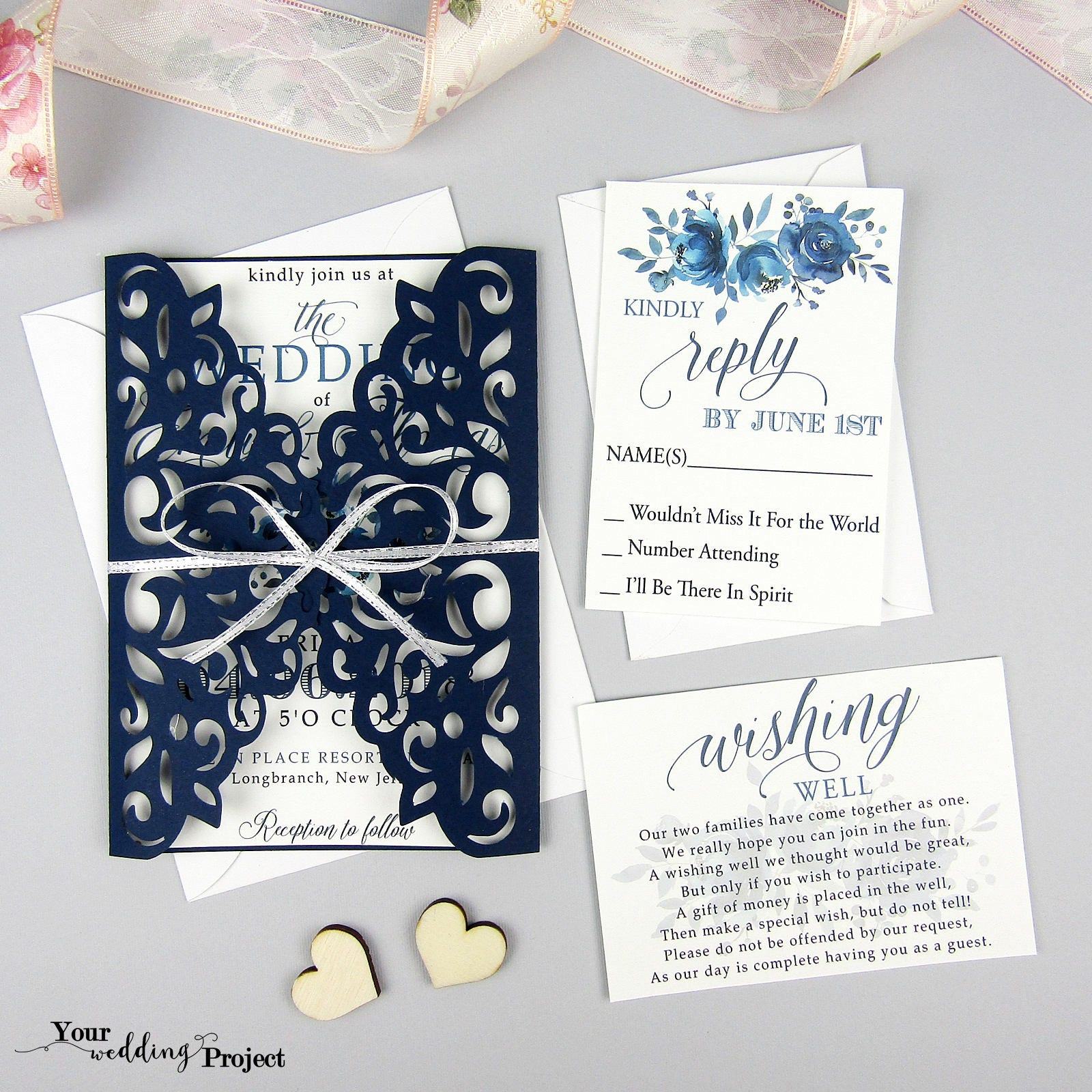 Laser Cut Wedding Invitation Set, Floral Wedding Invitation, Navy ...