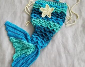 Mermaid Tail Costume,0-3 Month Mermaid Cocoon,Crochet Baby Mermaid Shell Top,Ariel Inspired Mermaid,Crochet Mermaid,Crochet Ready To Ship