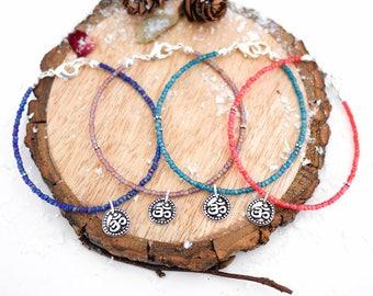 Silver Yoga Bracelet • Jewellery gifts for her wife girlfriend, boho, yoga, meditation, blue, turquoise, orange, christmas Present, jewelry