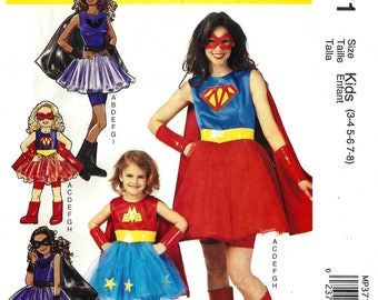 McCalls Costumes MP371 Sewing Pattern for Girls Halloween Outfits Supergirl Batgirl Cape Dress Skirt Mask Boot Cover Gauntlet Uncut