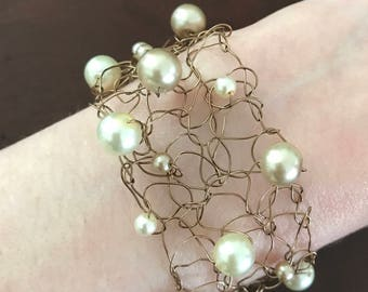 Ready To Ship, Knitted Bronze Wire, Pearl Bracelet, Womens Jewelry, Birthday Present, Gift For Her