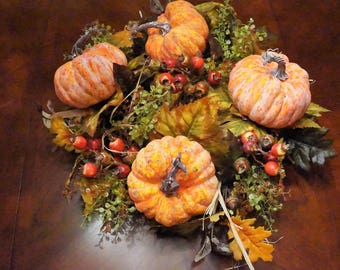 Thanksgiving Table Centerpiece Wreath-Fall Wreath-Large Pumpkin and Berry Wreath-Pumpkin leaf Wreath- Front Door Wreath