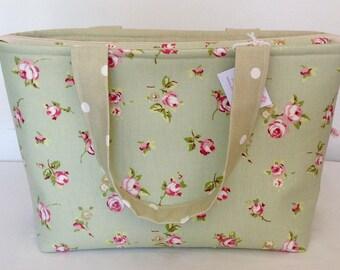 Tote Bage, Sage Rosebud Zippered Bag, Floral Bag, Medium Zippered Bag, Knitting Bag, Craft Bag, Baby Bag, Overnight Bag, Beach Bag, Shopping