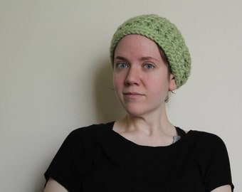 Crochet Chunky Mesh Hat in Light Green