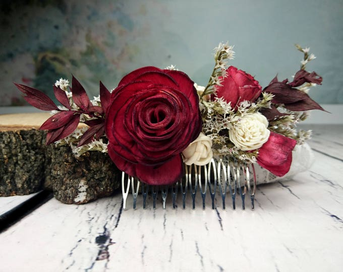 Deep red rose hair comb Alternative bride Burgundy rustic woodland Sola and dried Flowers maroon burlap hair piece bridal accessory gothic