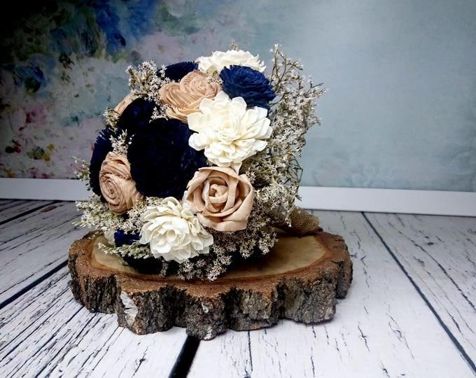 Dark navy caramel sola flowers wedding BOUQUET dried limonium burlap lace vintage elegant winter autumn bridal wooden flower alternative