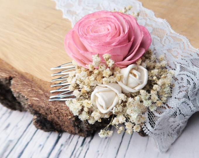 Blush pink rose preserved natural gypsophila hair comb rustic woodland Sola Flower dusty pink hairpiece bridal accessory delicate romantic