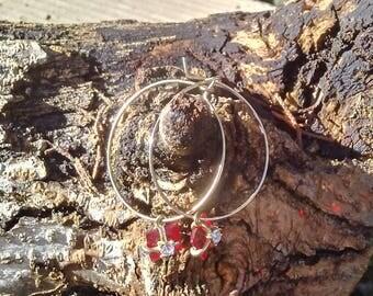 Red Stone Hoop Earrings/Vintage Red Avon Hoops/Hoop Earrings with Red Stones/Vintage Avon Red Square Stone Earrings with Rhinestones
