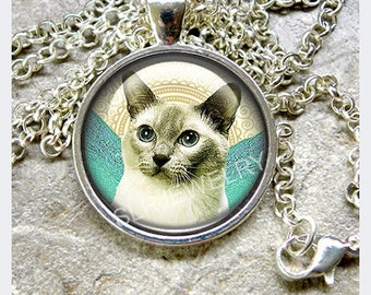 Siamese Cat Necklace One inch Glass Dome Pendant set in Silver or Bronze with Chain Gifts for her cat lovers art jewelry