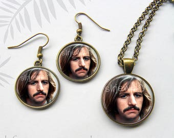 Beatles Jewelry, Ringo Star Earrings, Ringo Star Necklace, British Bands, Musicians, Rock, The Beatles, Drummer, Ringo Gift