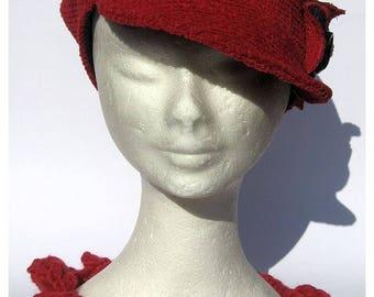 womens cap newsboy, hat vintage 30th style, fabric bakerboy cap red orangeaux