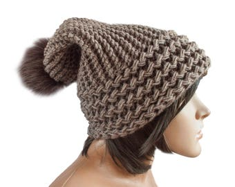 Hat Butterscotch Beanie - Knit Hat Women - Slouchy Earflap Hat - Hat pom pom - Knit Accessories Gift For Her