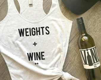 Weights and Wine Workout Tank, Funny Workout Tank, Wine Tank, Funny Gym Tank, Fitness Tank, Womens Workout Tank, Workout Motivation, Wine