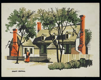 Mark Coomer Serigraph The Bracken House Print Vintage Art Silkscreen Screenprint Silkscreen