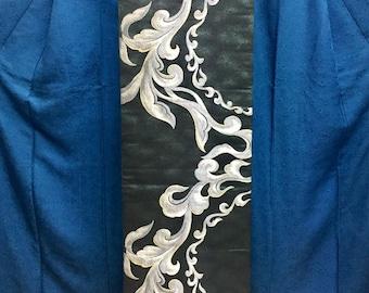 "OBI Fukuro obi ""silver arabesque ""Nishijin brilliant fabric deep green Japanese kimono obi very good condition"