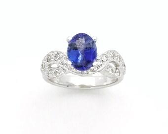 Tanzanite Engagement Ring, Oval Cut, White Gold, Conflict free Diamonds, Unique, Natural Tanzanite, fine jewelry, anniversary, high profile