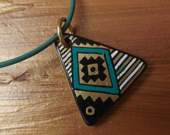 Wooden pendant, hand-painted pendant, pendant on a leather cord, pendant from Peru, triangle pendant