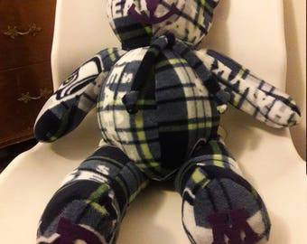 Sports Bear gift for Tailgate party, Man Cave, Birthday, Valentines Day gift.  NFL Seahawks,  Licensed Blue White fleece by Vintage Angel