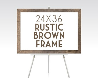24 x 36 RUSTIC BROWN FRAME . Solid Pine Wood Wedding Stain Colors White Black Green Red Grey Ready to Hang Hardware . Sizes 5 x 7 to 30 x 40