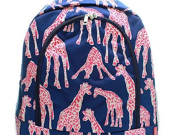 Giraffe Print Monogrammed School Backpack Navy Blue Trim