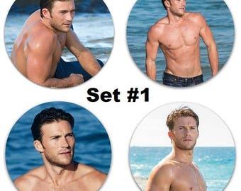 "Set of 4 Scott Eastwood Large 2.25"" Pinback Buttons or Magnets - Choose Your Favorite Set Shirtless"