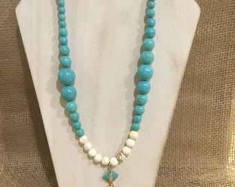 Ivory and turquoise beaded necklace with tassel