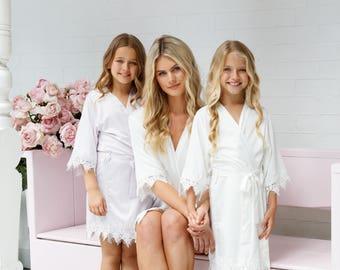 Flower Girl Robe // Bridal Robe // Bride Robe // Bridal Party Robes // Bridesmaid Gift // Silky Robe // Satin Robe // Robe // Amelia