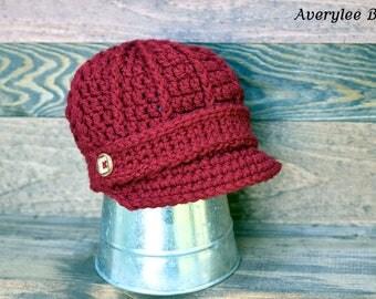 Candy Red Newsboy Hat, Baby Boy Newsboy Hat, Crochet Newsboy Hat, Boys Red Hat, Toddler Red Hat, Newborn Hat, Preemie Hat, Photo Prop