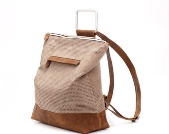 Brown Leather Backpack / Leather Like Tote Bag / Oversize Purse / Unisex Laptop Bag / School Bag / Handbag / Shoulder Bag - Nobo