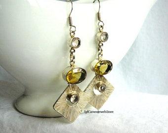 Earrings Handmade Golden Citrine Gems, Light Lavender Quartz Dangle, Drop Style SylCameoJewelsStore