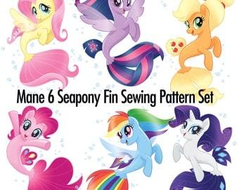 DIY Mane 6 Seapony Fin Sewing Pattern Set - 6 Patterns!