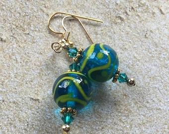 Blue Lampwork Earrings Earrings, Lampwork Earrings, Beadwork Earrings, Glass Bead Jewelry
