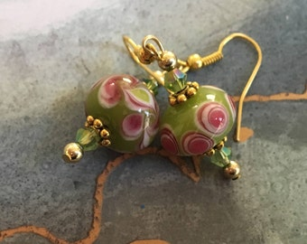 Lime Sherbert Lampwork Earrings, Dangle Earrings, Lime Earrings, Lampwork Earrings