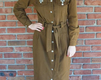 Brown Southwest Suede Button Down Dress  - Small