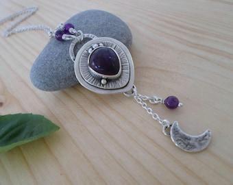 Amethyst sterling silver necklace, silversmith jewelry, silver stone pendant, amethyst jewelry, half moon pendant, pagan jewelry