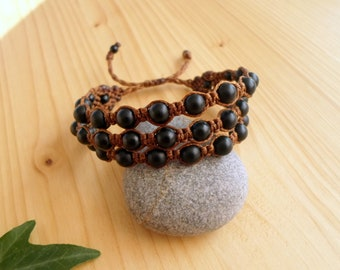 Black Onyx macrame bracelet, macrame stone, gemstone bracelet, black onyx jewelry, hippie bracelet, macrame jewelry, shamballa bracelet